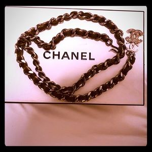 Chanel Nickel/silver brown leather belt